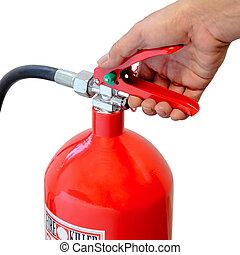 πυροσβεστήρας , κράτημα , φωτιά , πάνω , απομονωμένος , φόντο , άσπρο