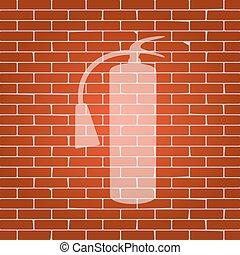 πυροσβεστήρας , whitish, φωτιά , αναχωρώ. , φόντο. , vector., πλίνθινος τοίχος , εικόνα