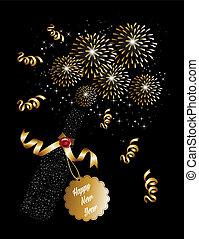 πυροτεχνήματα , έτος , φόντο , καινούργιος , 2014, σαμπάνια , ευτυχισμένος