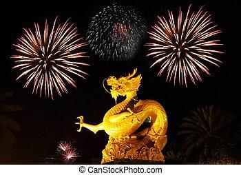 πυροτεχνήματα , χρυσαφένιος , phuket , gragon, άγαλμα , σιάμ...