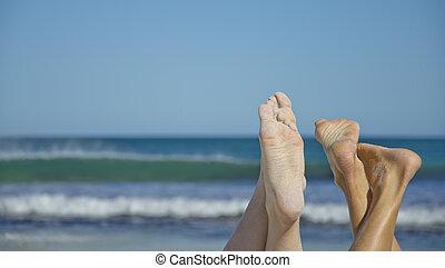 πόδια , παραλία , αμμώδης , οκεανόs