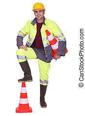 πόδι , ανώτατος , εργάτης , κώνος , signaling