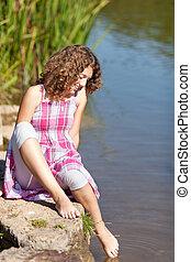 πόδι , νερό , κορίτσι , βάθος