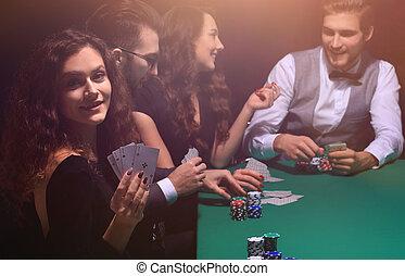 πόκερ , γυναίκα , συνδυασμόs , εκδήλωση , τέσσερα , παίχτης , άσος