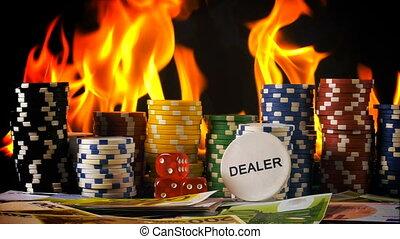 πόκερ , φωτιά , ζάρια , καρτέλλες , διακινδυνεύω απόκομμα