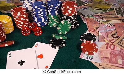 πόκερ , χρήματα , ζάρια , καρτέλλες , διακινδυνεύω απόκομμα...