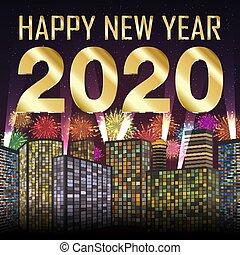 πόλη , έτος , 2020, πυροτέχνημα , φόντο , ευτυχισμένος , καινούργιος