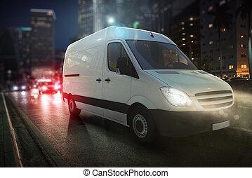 πόλη , βαγόνι αποσκευών , γρήγορα , απαλλάσσω , απόδοση , δρόμοs , night., 3d
