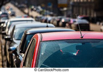 πόλη , βιασύνη , κεντρικός , ώρα , δρόμοs , κυκλοφορία , κατά την διάρκεια