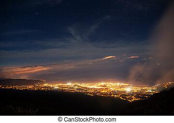 πόλη , βουνό , νησί , ανώτατος , tenerife , νύκτα