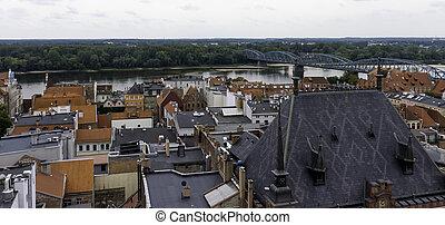 πόλη , γέφυρα , γριά , πανόραμα , πάνω , - , φόντο , vistula, εναέρια , ποτάμι , torun, πολωνία