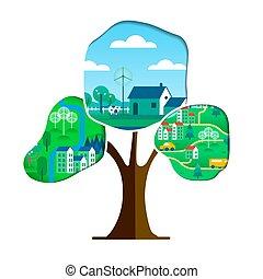 πόλη , γενική ιδέα , δέντρο , περιβάλλον , πράσινο , προσοχή