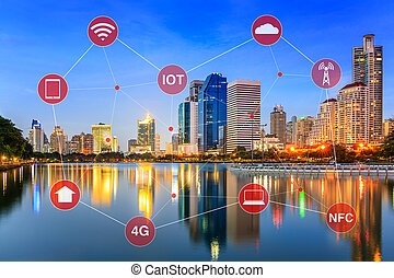 πόλη , γενική ιδέα , networking , αδυναμία , iot, διευκρίνισα , internet , ή , κομψός