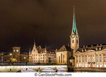 πόλη , γριά , ζυρίχη , - , νύκτα , ελβετία