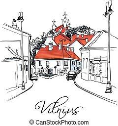 πόλη , γριά , vilnius , λιθουανία , δρόμοs , χαρακτηριστικός