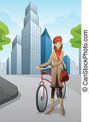 πόλη , γυναίκα , ποδήλατο