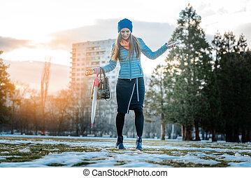 πόλη , γυναίκα , χιόνι , βόλτα , έχει , παγόλυση