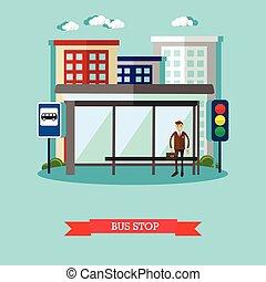 πόλη , διαμέρισμα , αστικός , λεωφορείο , εικόνα , δημόσιο , αναμονή , μικροβιοφορέας , μεταφορά , stop., style., τοπίο , άντραs