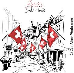 πόλη , ελβετία , γριά , ζυρίχη