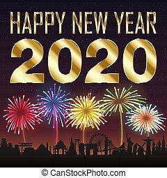 πόλη , ευτυχισμένο το νέο έτος , φόντο , πυροτέχνημα , 2020