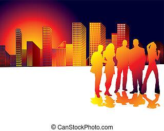 πόλη , ηλιοβασίλεμα