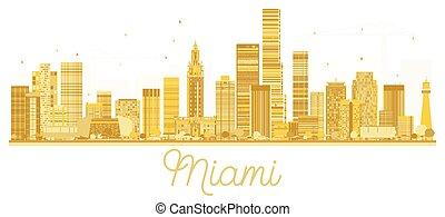 πόλη , η π α , χρυσαφένιος , μιάμι , silhouette., γραμμή ορίζοντα