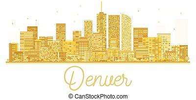 πόλη , η π α , χρυσαφένιος , denver , silhouette., γραμμή ορίζοντα