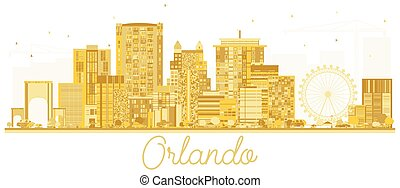 πόλη , η π α , χρυσαφένιος , orlando , silhouette., γραμμή ορίζοντα
