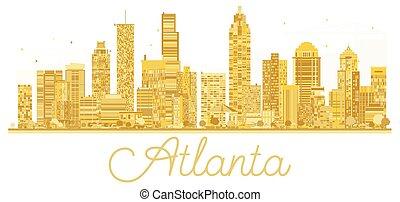 πόλη , η π α , χρυσαφένιος , silhouette., γραμμή ορίζοντα , atlanta