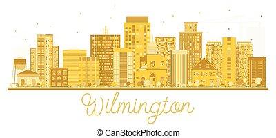 πόλη , η π α , χρυσαφένιος , wilmington , silhouette., γραμμή ορίζοντα