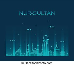 πόλη , καζακστάν , nur-sultan, γραμμή ορίζοντα ,...