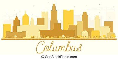 πόλη , κολόμβος , η π α , χρυσαφένιος , silhouette., γραμμή ορίζοντα