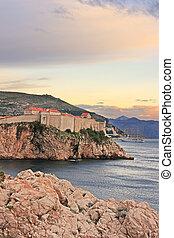 πόλη , κροατία , γριά , ηλιοβασίλεμα , dubrovnik