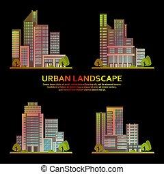 πόλη , κτίρια , θέτω , επιχείρηση , ουρανοξύστης , μοντέρνος , vector., κέντρο