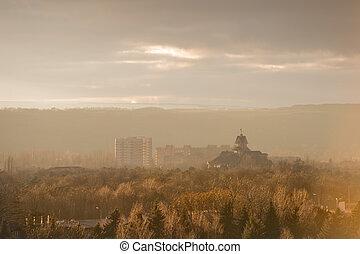 πόλη , κτίρια , καθολικός , high-rise , πάρκο , pre-smoke,...