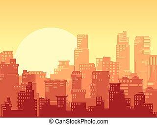 πόλη , μεγάλος , οριζόντιος , sunset., εικόνα , διαμορφώνω κατά ορισμένο τρόπο