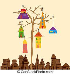 πόλη , μικρός , δέντρο