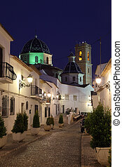 πόλη , νύκτα , γριά , ισπανία , altea