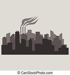 πόλη , περίγραμμα , διαμέρισμα , - , εικόνα , μικροβιοφορέας , style.