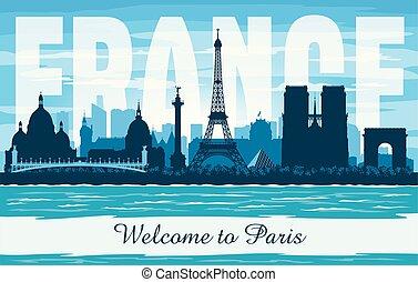 πόλη , περίγραμμα , paris γαλλία , γραμμή ορίζοντα , μικροβιοφορέας