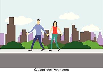πόλη , περίπατος , άνθρωποι , ζευγάρι , μικροβιοφορέας , σχεδιάζω , αστικόσ δρόμοσ. , skyline., πεζοδρόμιο