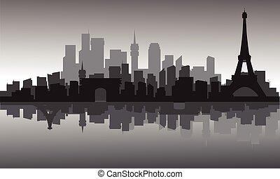 πόλη , πύργος , eiffel , περίγραμμα