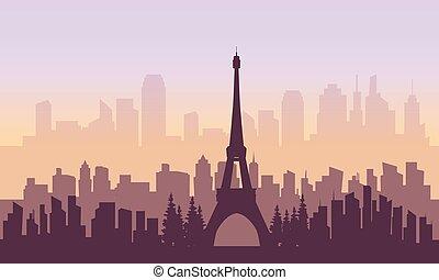 πόλη , πύργος , eiffel , περίγραμμα , γαλλία