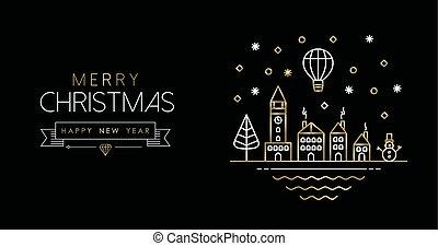 πόλη , τέχνη , χρυσός , έτος , καινούργιος , γραμμή , σημαία , xριστούγεννα