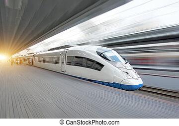 πόλη , ταχύτητα , τρένο , ψηλά , θέση , σιδηρόδρομος , καβαλλικεύω