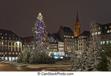 πόλη , τετράγωνο , δέντρο , xριστούγεννα