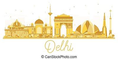 πόλη , χρυσαφένιος , δελχί , ινδία , silhouette., γραμμή ορίζοντα