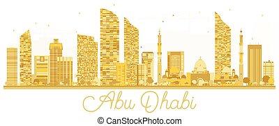 πόλη , dhabi, χρυσαφένιος , silhouette., γραμμή ορίζοντα , abu