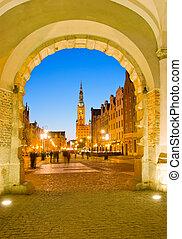 πόλη , gdansk , γριά , νύκτα