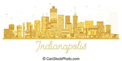 πόλη , indianapolis , η π α , χρυσαφένιος , silhouette., γραμμή ορίζοντα